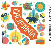 california tourist attractions... | Shutterstock .eps vector #595997699