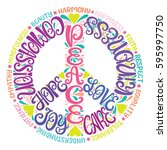 peace sign vector illustration  ... | Shutterstock .eps vector #595997750