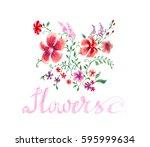 flowers lettering drawing... | Shutterstock . vector #595999634