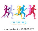 people running marathon logo... | Shutterstock .eps vector #596005778