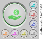 dollar earnings color icons on... | Shutterstock .eps vector #596010536