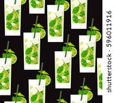 seamless pattern with cocktail... | Shutterstock .eps vector #596011916