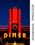 Small photo of Hyde Park, NY, USA September 4, 2009 Neon Lights brighten a neo-classic diner in Hyde Park, New York