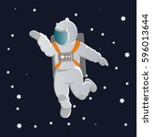 an astronaut in a white... | Shutterstock .eps vector #596013644