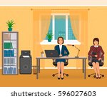 office interior with two... | Shutterstock .eps vector #596027603