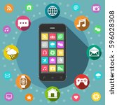 mobile phone with icons  flat... | Shutterstock .eps vector #596028308