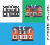 a set of three icons houses.... | Shutterstock .eps vector #596028458