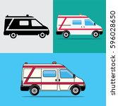 ambulances. vector set of icons ... | Shutterstock .eps vector #596028650
