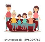 happy family with white... | Shutterstock .eps vector #596029763