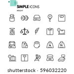 simple set of weight related... | Shutterstock .eps vector #596032220