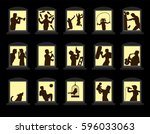 loud neighbors making noise... | Shutterstock .eps vector #596033063