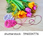 tulips  mimosa and easter... | Shutterstock . vector #596034776