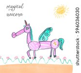 unicorn illustration. unicorn... | Shutterstock . vector #596036030