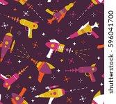 vector seamless blaster pattern | Shutterstock .eps vector #596041700