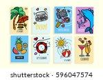 universal summer posters set.... | Shutterstock .eps vector #596047574