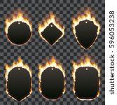 set of six frames of different... | Shutterstock .eps vector #596053238
