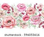 romantic seamless border of... | Shutterstock . vector #596053616