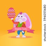 happy easter greeting card. a... | Shutterstock .eps vector #596055680