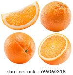 set of oranges isolated on a... | Shutterstock . vector #596060318