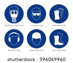 vector safety signs  set of six ... | Shutterstock .eps vector #596069960