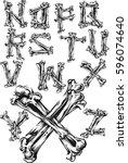 bones alphabet | Shutterstock .eps vector #596074640