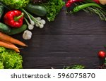 border of fresh organic... | Shutterstock . vector #596075870