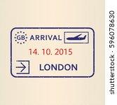 london passport stamp. travel... | Shutterstock .eps vector #596078630