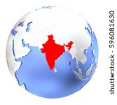 map of india on metallic globe. ... | Shutterstock . vector #596081630