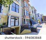 colorful san francisco... | Shutterstock . vector #596083868