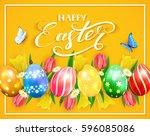 easter eggs on yellow... | Shutterstock . vector #596085086