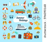 set of flat icons for summer... | Shutterstock .eps vector #596090168