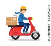 delivery man riding red motor... | Shutterstock .eps vector #596091248