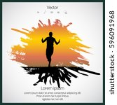 marathon runner | Shutterstock .eps vector #596091968