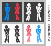 wc sign. vector funny boy and... | Shutterstock .eps vector #596096444