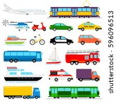 urban transport colored vector... | Shutterstock .eps vector #596096513