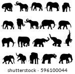 elephant black and white vector ... | Shutterstock .eps vector #596100044