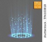 round blue glow rays night... | Shutterstock .eps vector #596103818