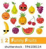 fruits icons set in flat style. ... | Shutterstock .eps vector #596108114