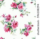 seamless pattern with bouquets... | Shutterstock . vector #596108294