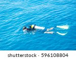 ssi padi courses divers on the...   Shutterstock . vector #596108804