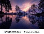 mount fuji san at fumotopara...   Shutterstock . vector #596110268