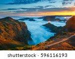 beautiful sunset over the... | Shutterstock . vector #596116193