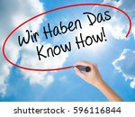 Small photo of Woman Hand Writing Wir Haben Das Know How! (We Have the Know-How in German) with black marker on visual screen. Isolated on Sunny Sky. Business concept. Stock Photo