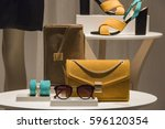 women shoes and handbags in a... | Shutterstock . vector #596120354