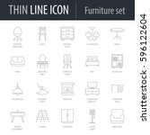 icons set of furniture. symbol... | Shutterstock .eps vector #596122604