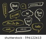set of hand drawn speech bubble ... | Shutterstock .eps vector #596122613