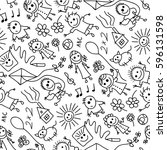seamless pattern of hand drawn... | Shutterstock .eps vector #596131598