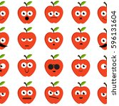 seamless apples emoticons... | Shutterstock .eps vector #596131604