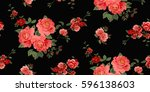 seamless floral pattern in... | Shutterstock .eps vector #596138603