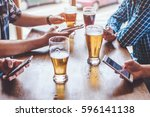 social networking with beer... | Shutterstock . vector #596141138